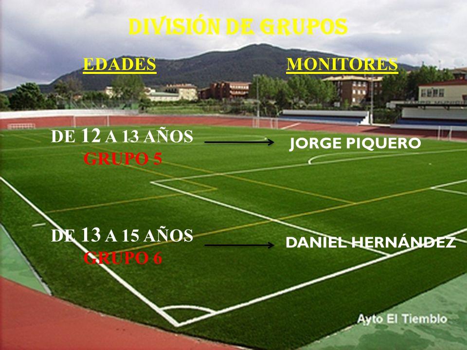 DIVISIÓN DE GRUPOS EDADES MONITORES DE 12 A 13 AÑOS GRUPO 5