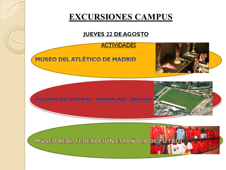 EXCURSIONES CAMPUS JUEVES 22 DE AGOSTO ACTIVIDADES