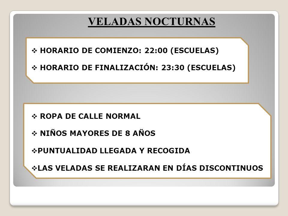 VELADAS NOCTURNAS HORARIO DE COMIENZO: 22:00 (ESCUELAS)