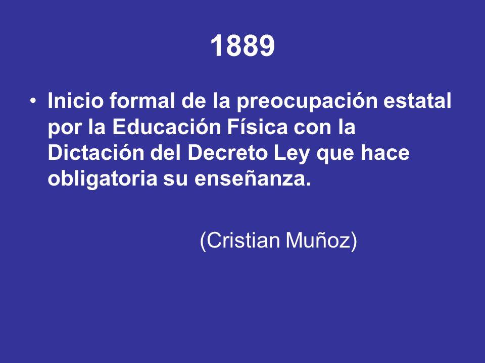 1889 Inicio formal de la preocupación estatal por la Educación Física con la Dictación del Decreto Ley que hace obligatoria su enseñanza.