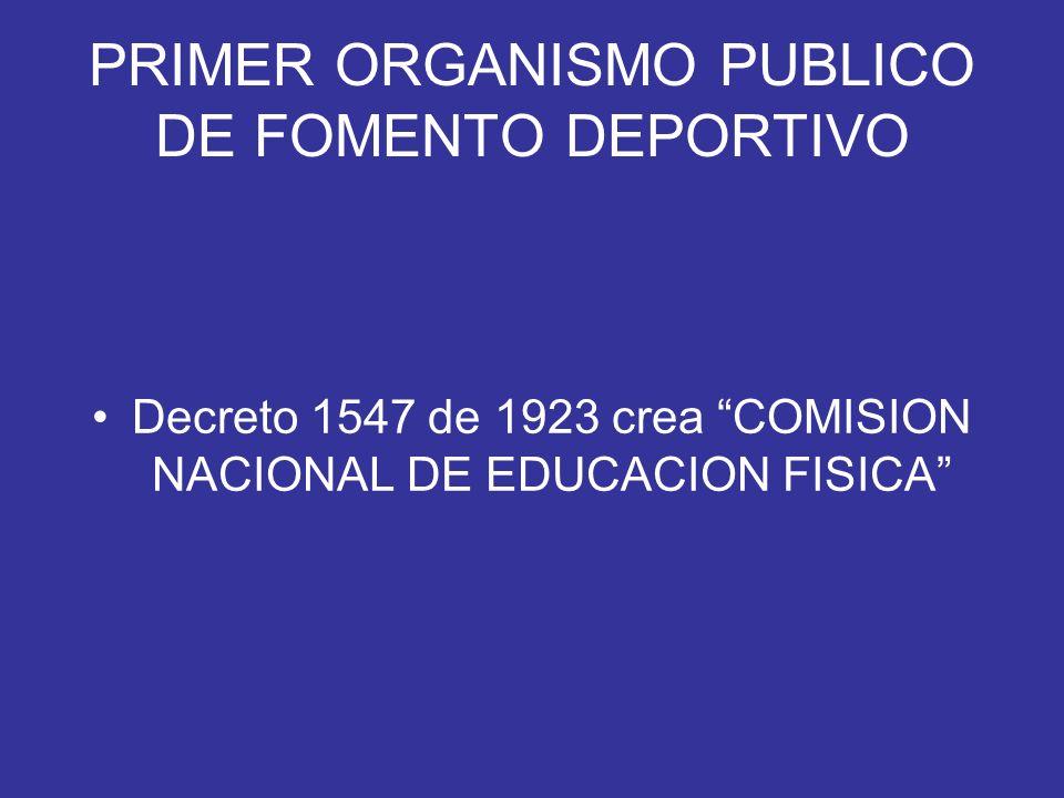 PRIMER ORGANISMO PUBLICO DE FOMENTO DEPORTIVO