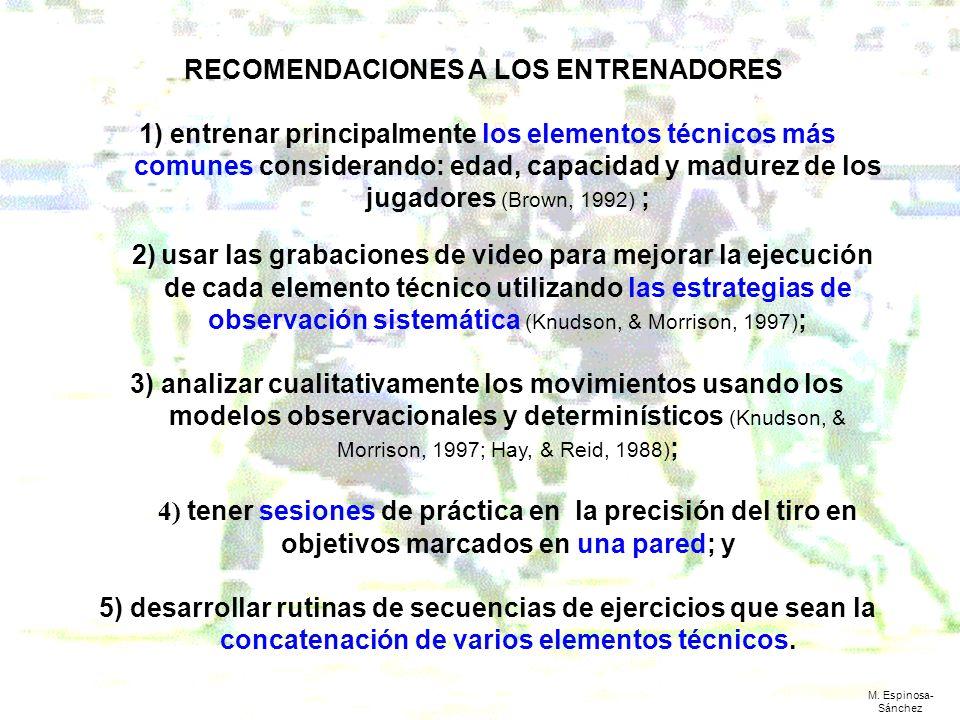RECOMENDACIONES A LOS ENTRENADORES