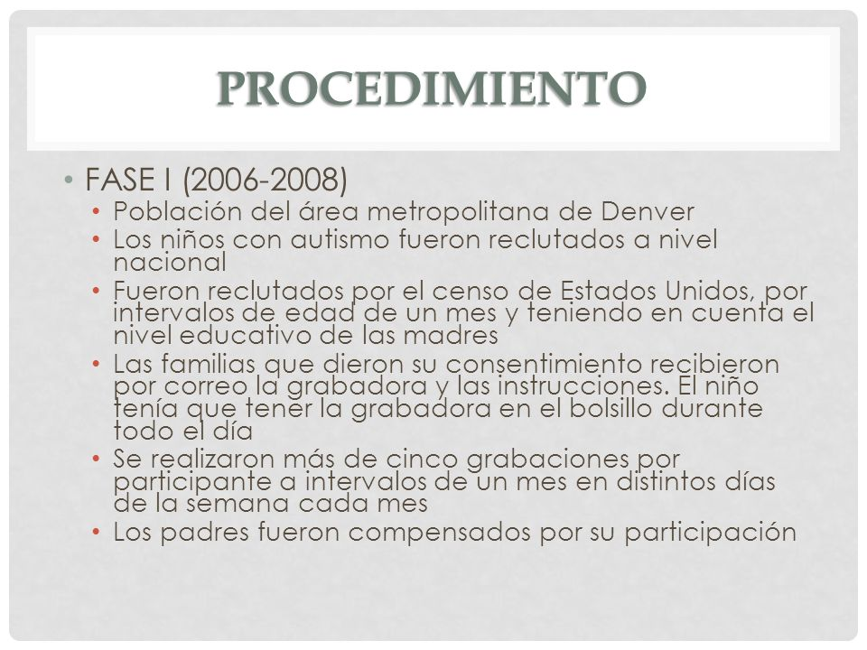 PROCEDIMIENTO FASE I (2006-2008)