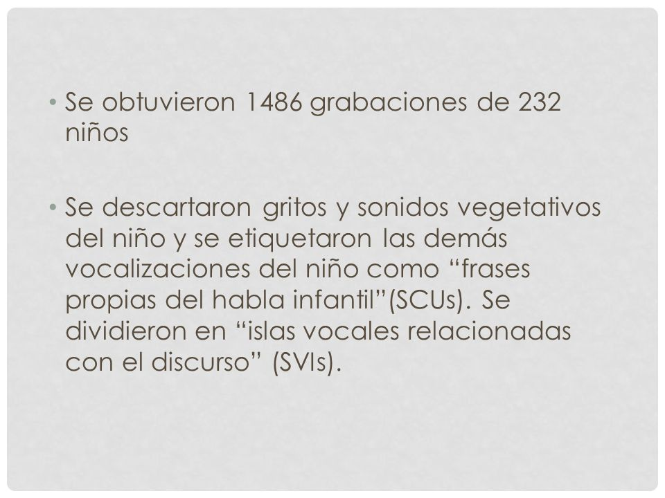 Se obtuvieron 1486 grabaciones de 232 niños
