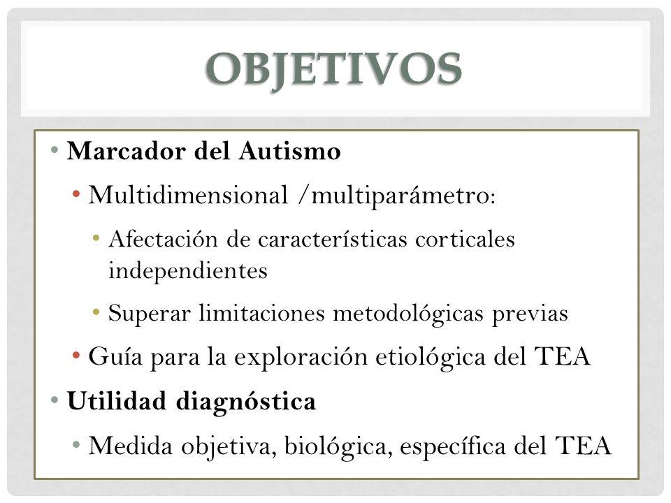OBJETIVOS Marcador del Autismo Multidimensional /multiparámetro: