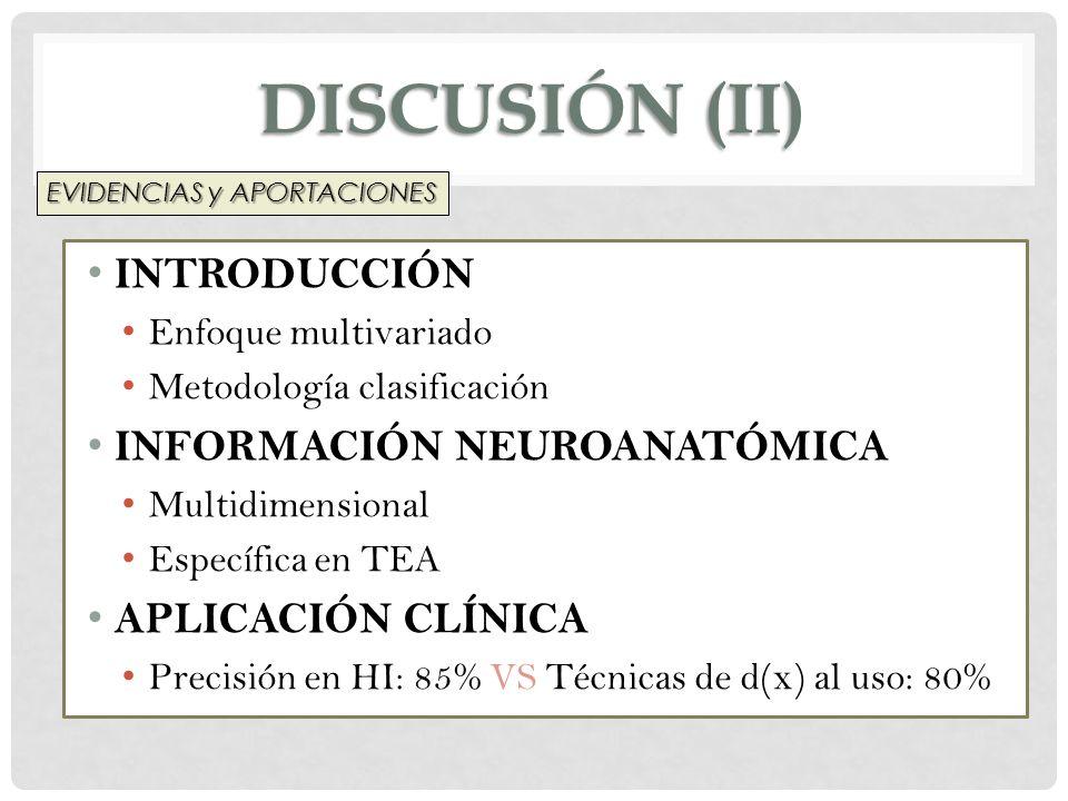 DISCUSIÓN (ii) INTRODUCCIÓN INFORMACIÓN NEUROANATÓMICA