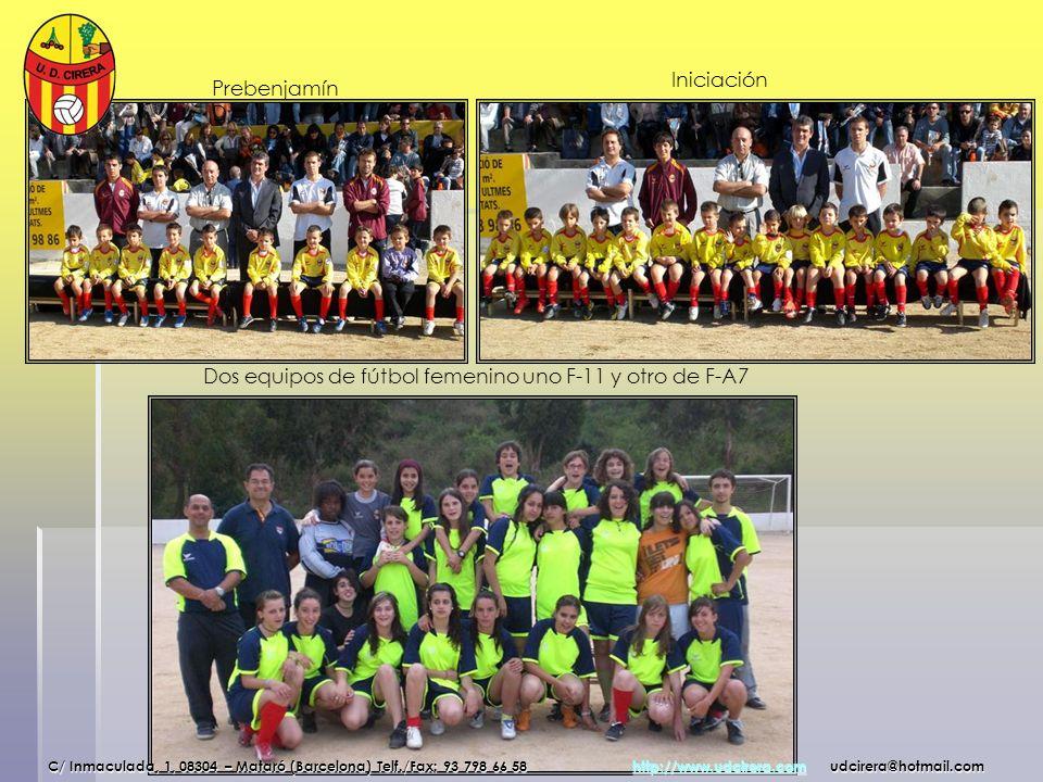 Dos equipos de fútbol femenino uno F-11 y otro de F-A7