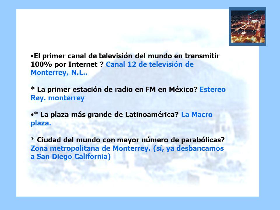 El primer canal de televisión del mundo en transmitir 100% por Internet Canal 12 de televisión de Monterrey, N.L.. * La primer estación de radio en FM en México Estereo Rey. monterrey