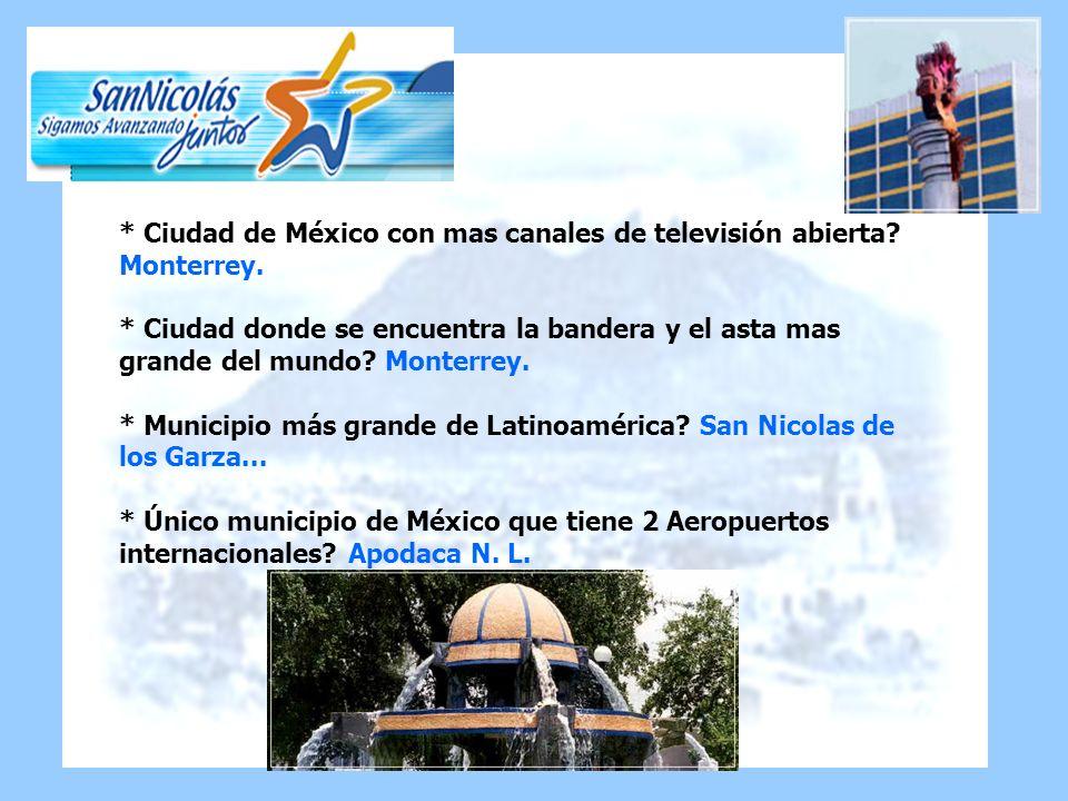 Ciudad de México con mas canales de televisión abierta. Monterrey