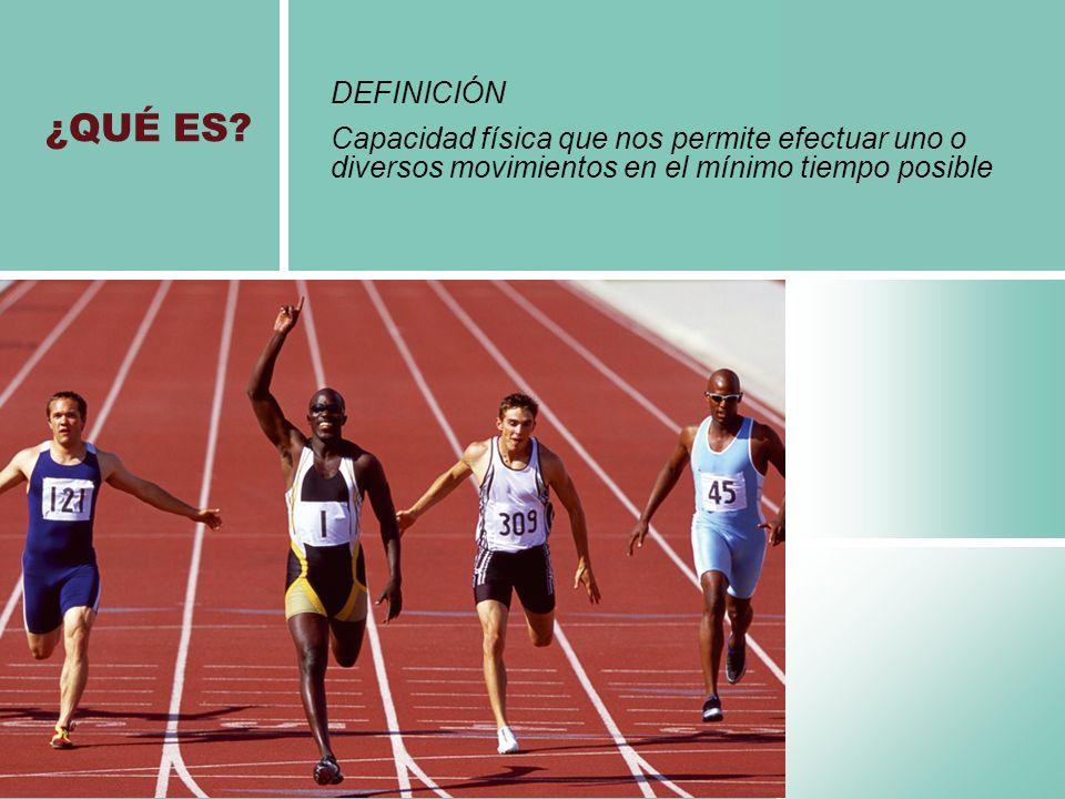 DEFINICIÓN Capacidad física que nos permite efectuar uno o diversos movimientos en el mínimo tiempo posible.