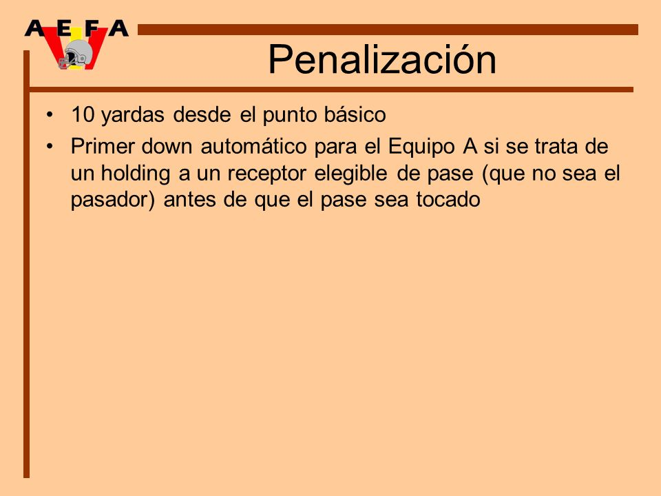 Penalización 10 yardas desde el punto básico