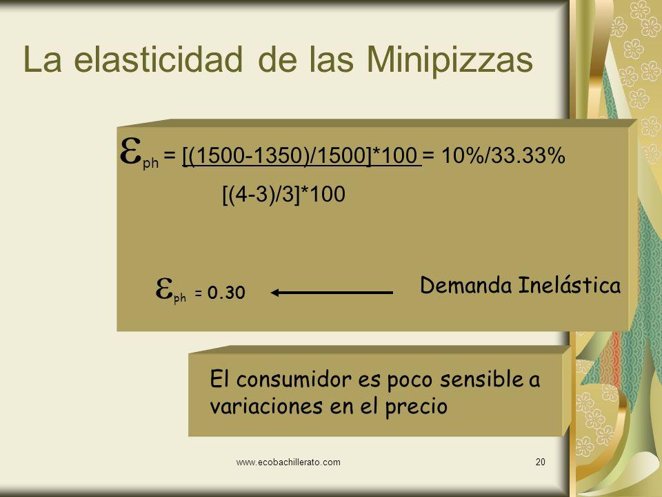 La elasticidad de las Minipizzas