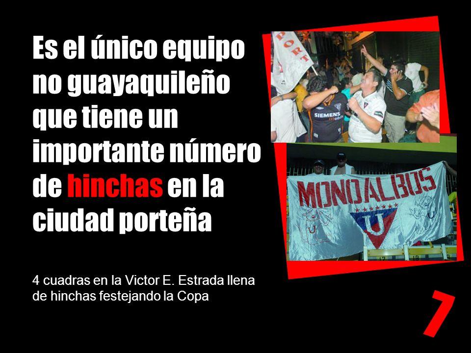 Es el único equipo no guayaquileño que tiene un importante número de hinchas en la ciudad porteña 4 cuadras en la Victor E. Estrada llena de hinchas festejando la Copa