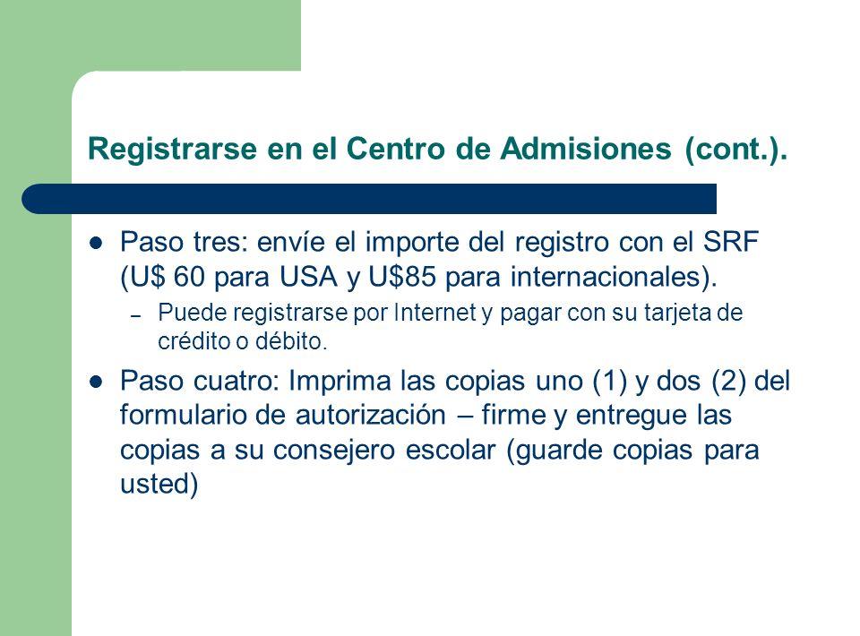 Registrarse en el Centro de Admisiones (cont.).