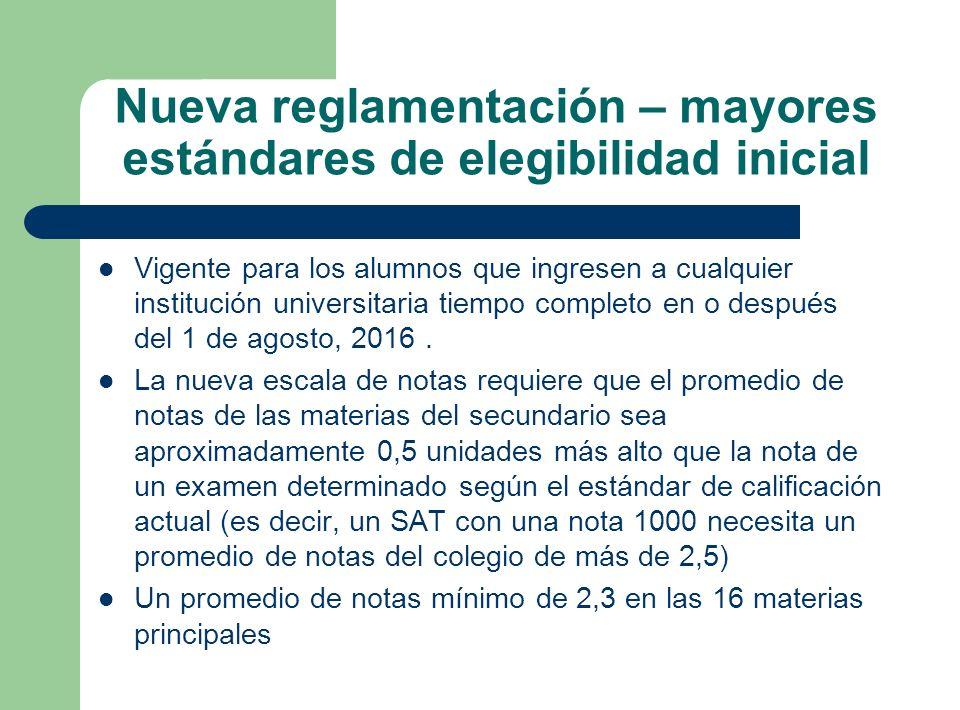 Nueva reglamentación – mayores estándares de elegibilidad inicial