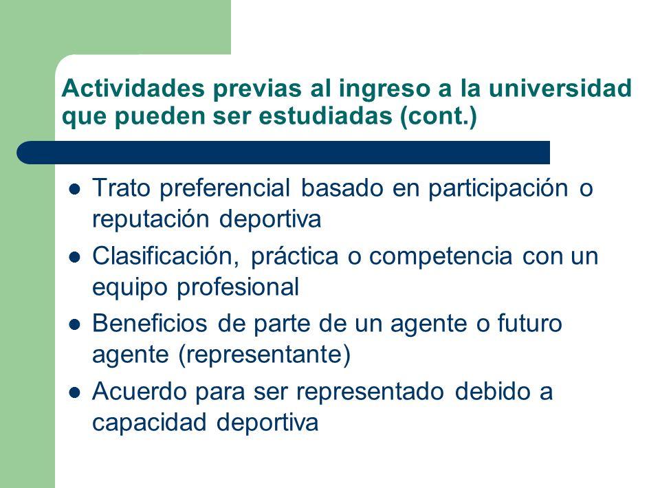 Actividades previas al ingreso a la universidad que pueden ser estudiadas (cont.)
