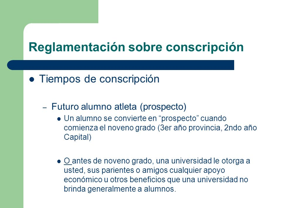 Reglamentación sobre conscripción