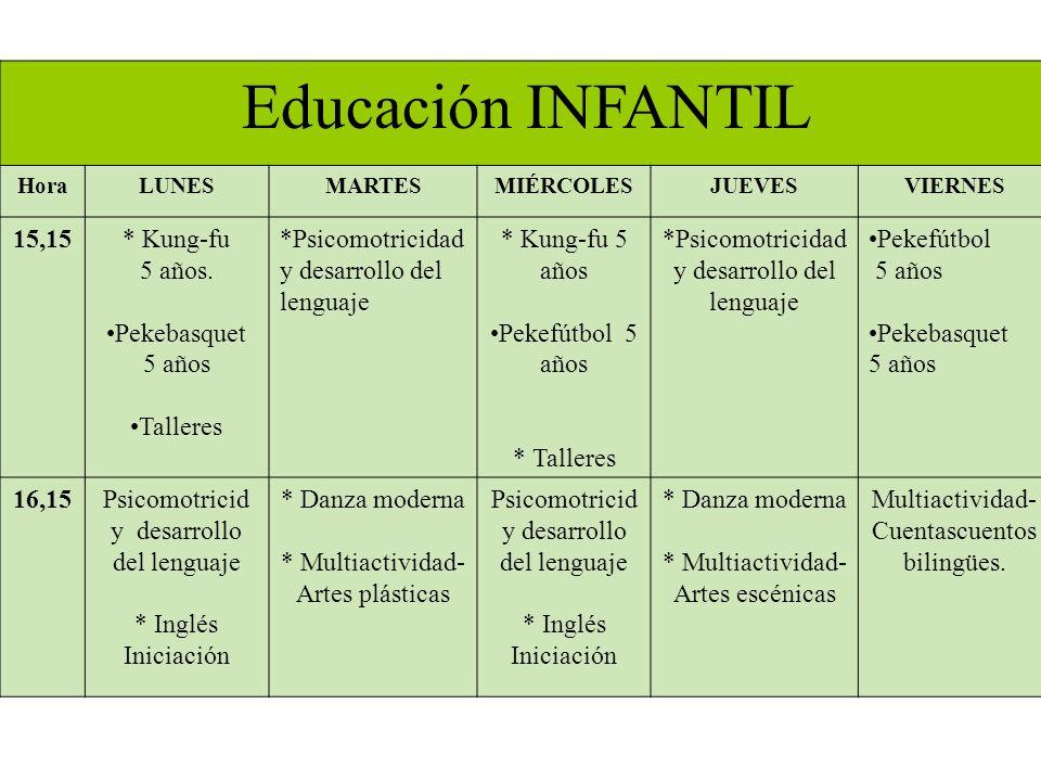 Educación INFANTIL 15,15 * Kung-fu 5 años. Pekebasquet 5 años Talleres