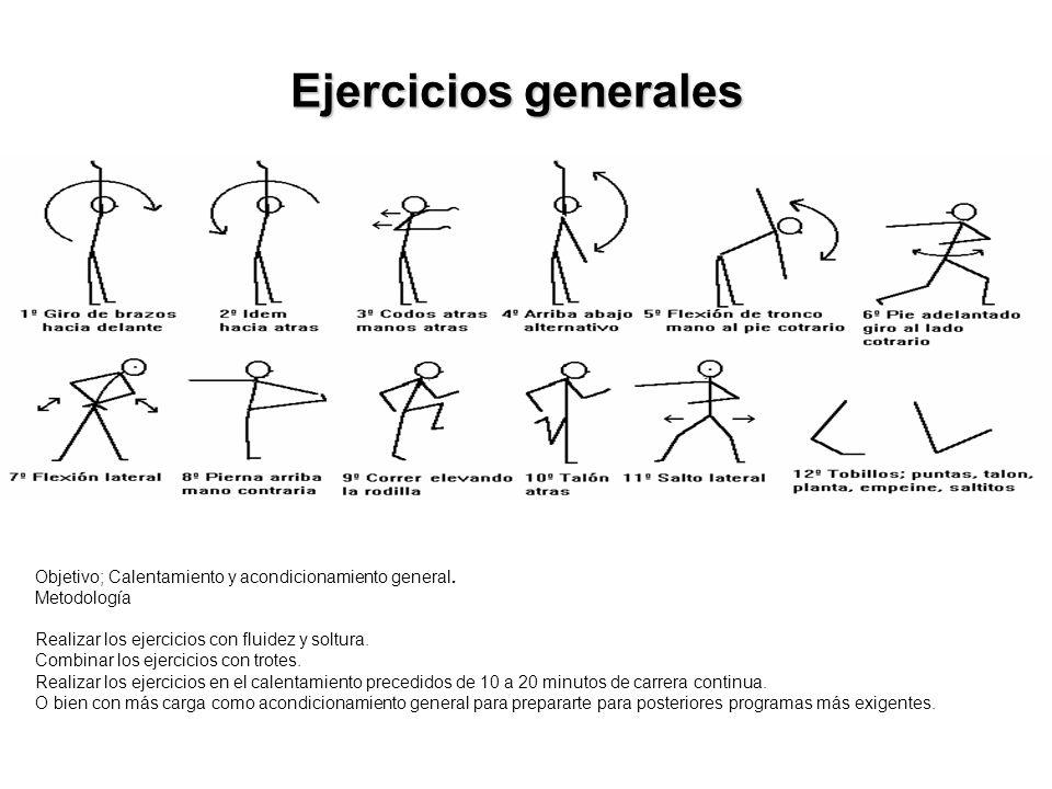 Ejercicios generales Objetivo; Calentamiento y acondicionamiento general. Metodología. Realizar los ejercicios con fluidez y soltura.