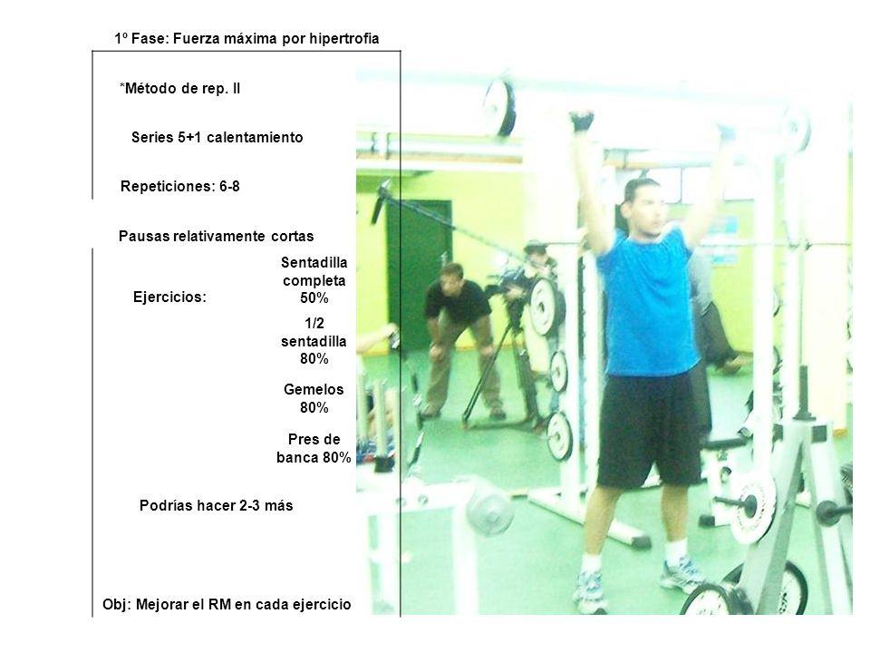 1º Fase: Fuerza máxima por hipertrofia *Método de rep. II