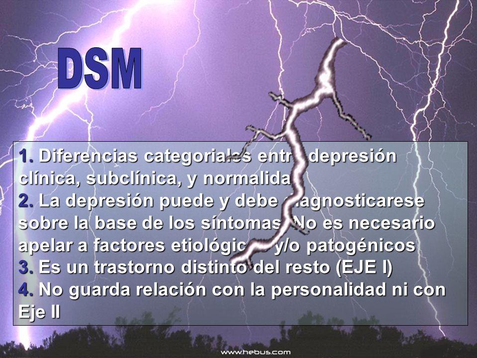 DSM1. Diferencias categoriales entre depresión clínica, subclínica, y normalidad.