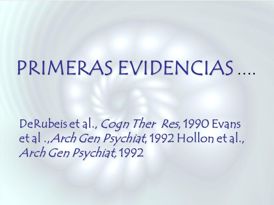 PRIMERAS EVIDENCIAS ….DeRubeis et al., Cogn Ther Res, 1990 Evans et al .,Arch Gen Psychiat, 1992 Hollon et al., Arch Gen Psychiat, 1992.
