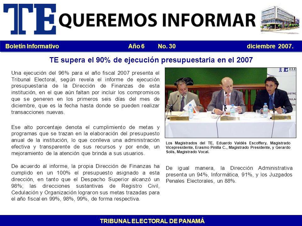 TE supera el 90% de ejecución presupuestaria en el 2007