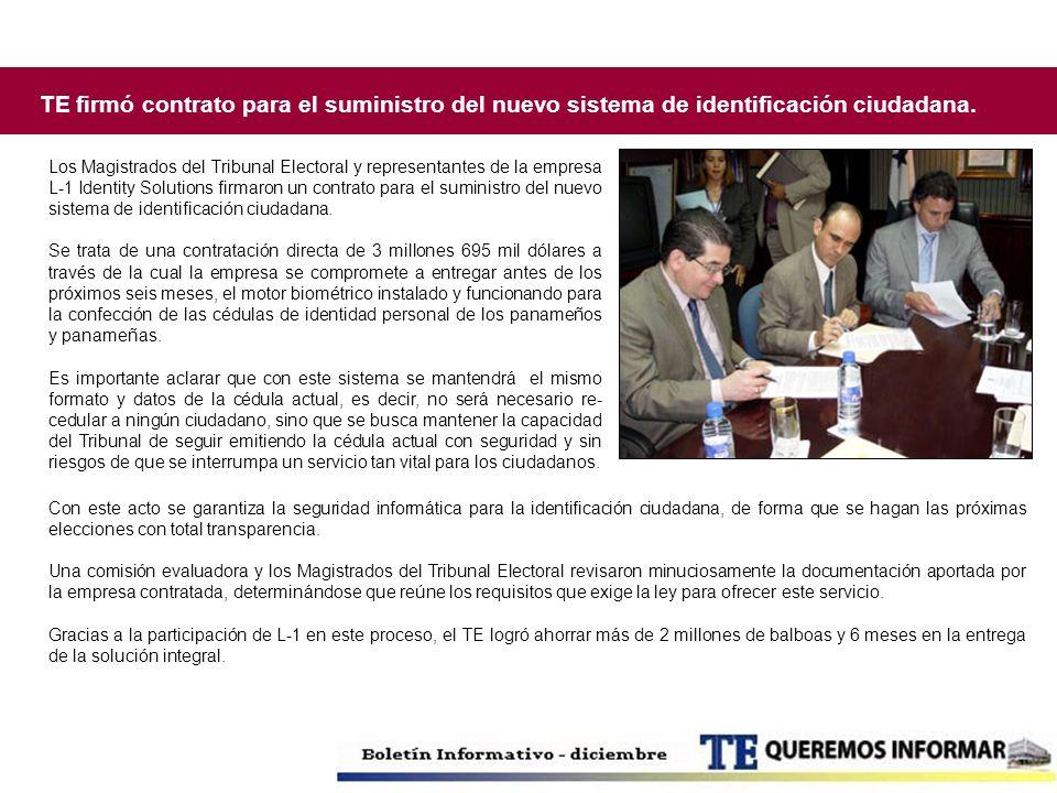 TE firmó contrato para el suministro del nuevo sistema de identificación ciudadana.