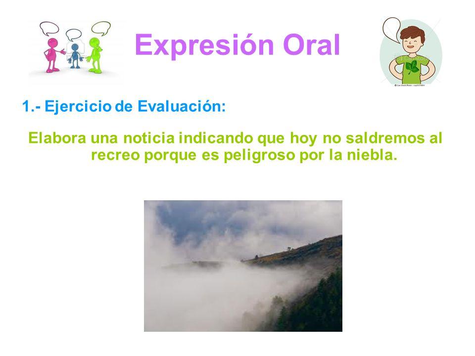 Expresión Oral 1.- Ejercicio de Evaluación: