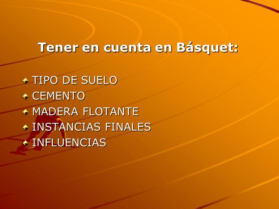 Tener en cuenta en Básquet: