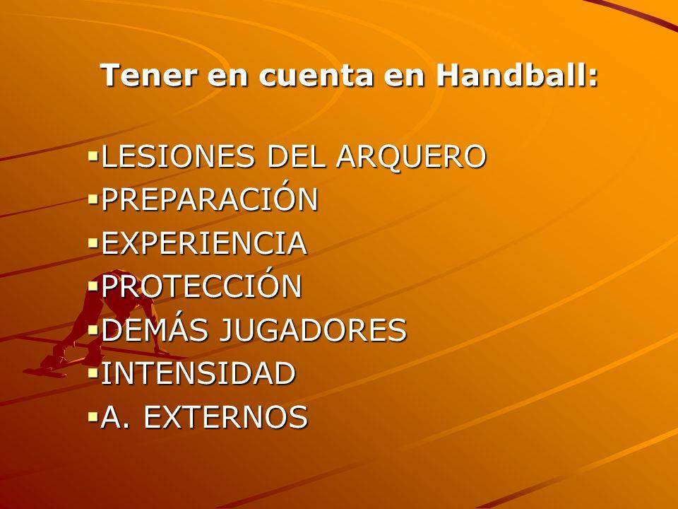 Tener en cuenta en Handball: