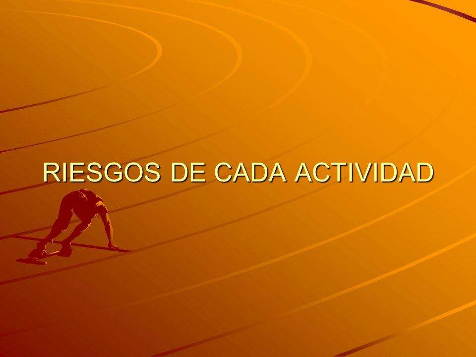 RIESGOS DE CADA ACTIVIDAD