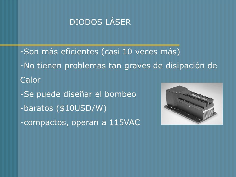 DIODOS LÁSER -Son más eficientes (casi 10 veces más) -No tienen problemas tan graves de disipación de.