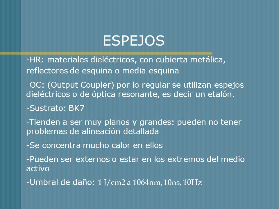 ESPEJOS -HR: materiales dieléctricos, con cubierta metálica, reflectores de esquina o media esquina.