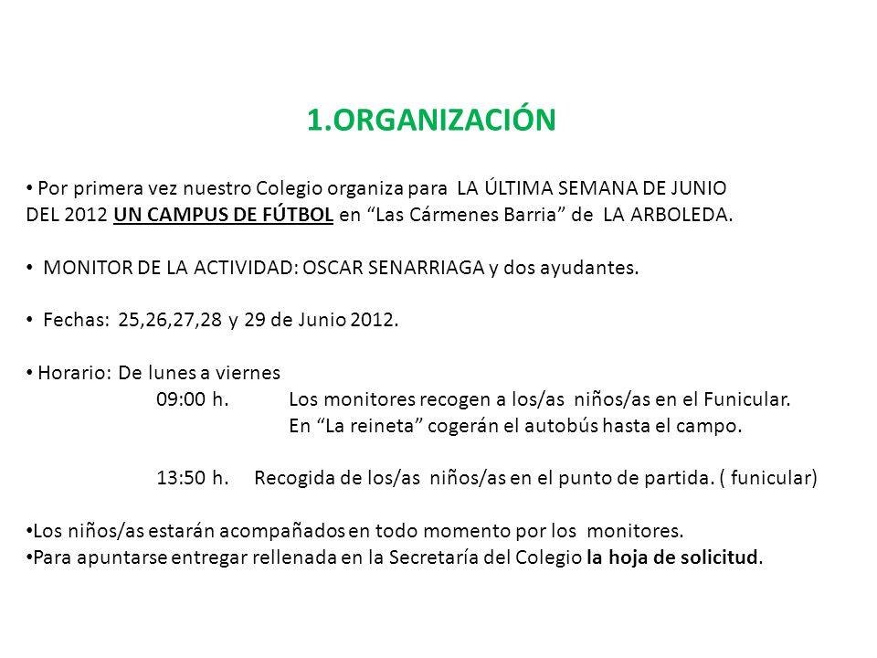 1.ORGANIZACIÓN Por primera vez nuestro Colegio organiza para LA ÚLTIMA SEMANA DE JUNIO.