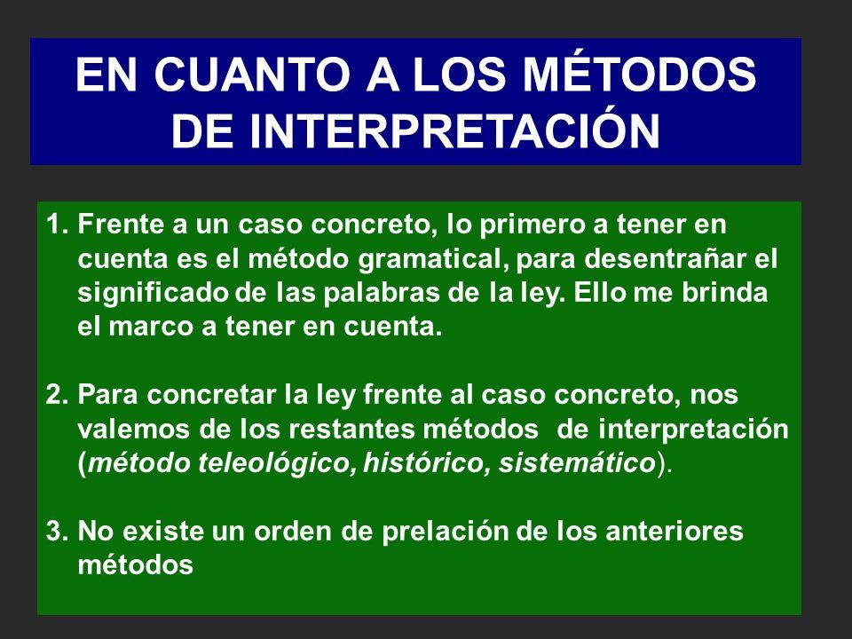 EN CUANTO A LOS MÉTODOS DE INTERPRETACIÓN