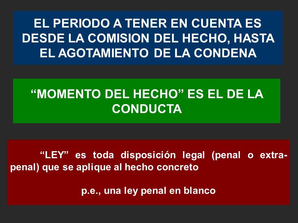 MOMENTO DEL HECHO ES EL DE LA CONDUCTA p.e., una ley penal en blanco
