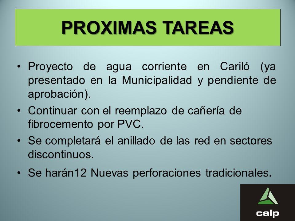 PROXIMAS TAREAS Proyecto de agua corriente en Cariló (ya presentado en la Municipalidad y pendiente de aprobación).