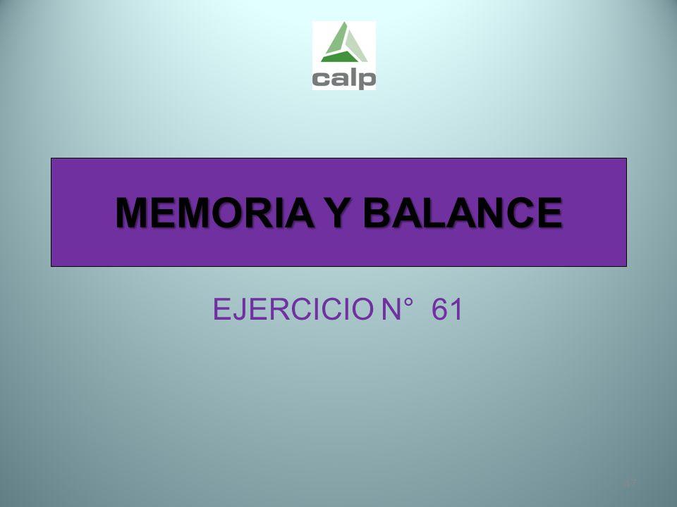 MEMORIA Y BALANCE EJERCICIO N° 61