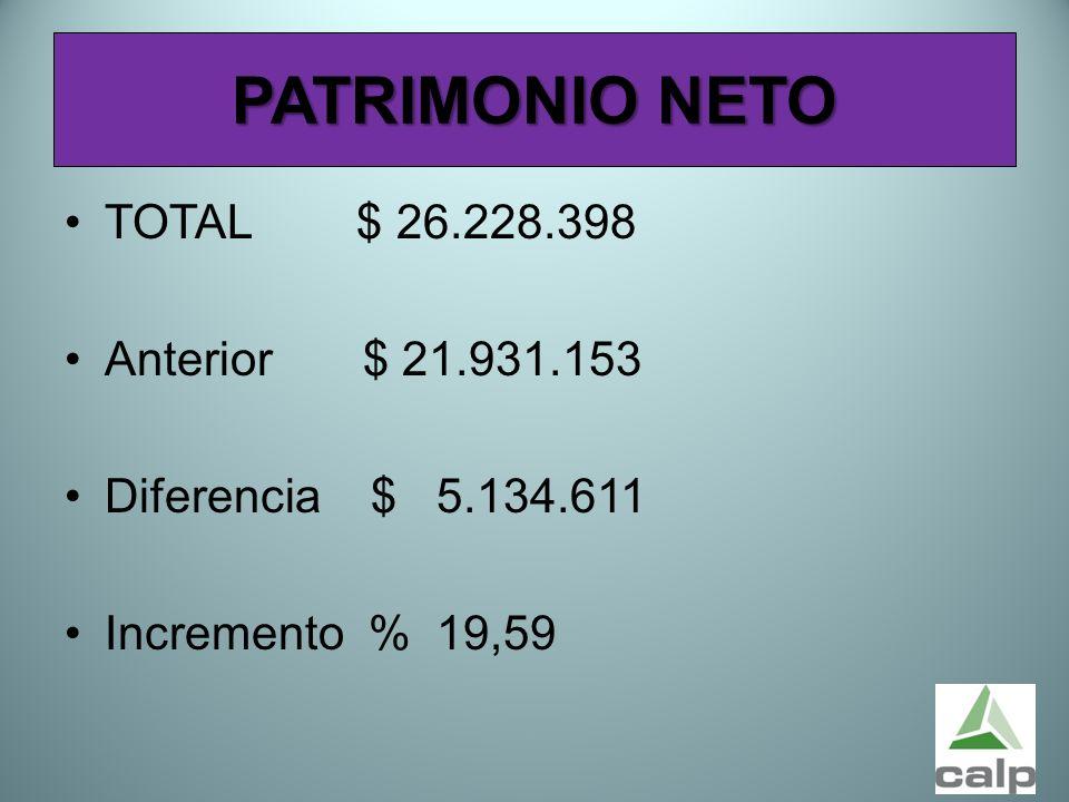 PATRIMONIO NETO TOTAL $ 26.228.398 Anterior $ 21.931.153