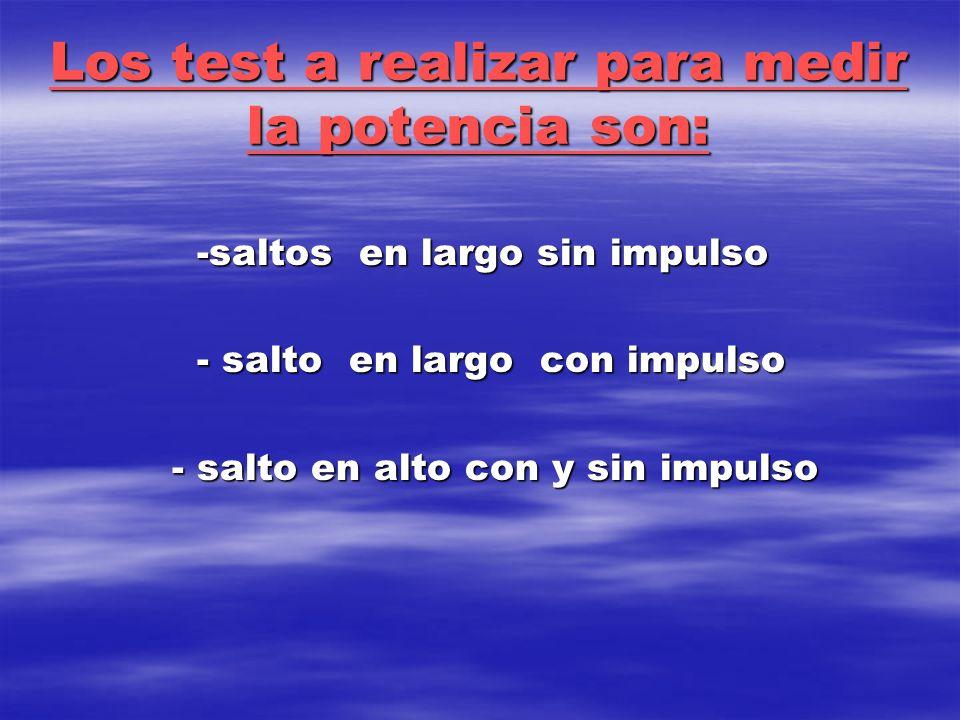 Los test a realizar para medir la potencia son: