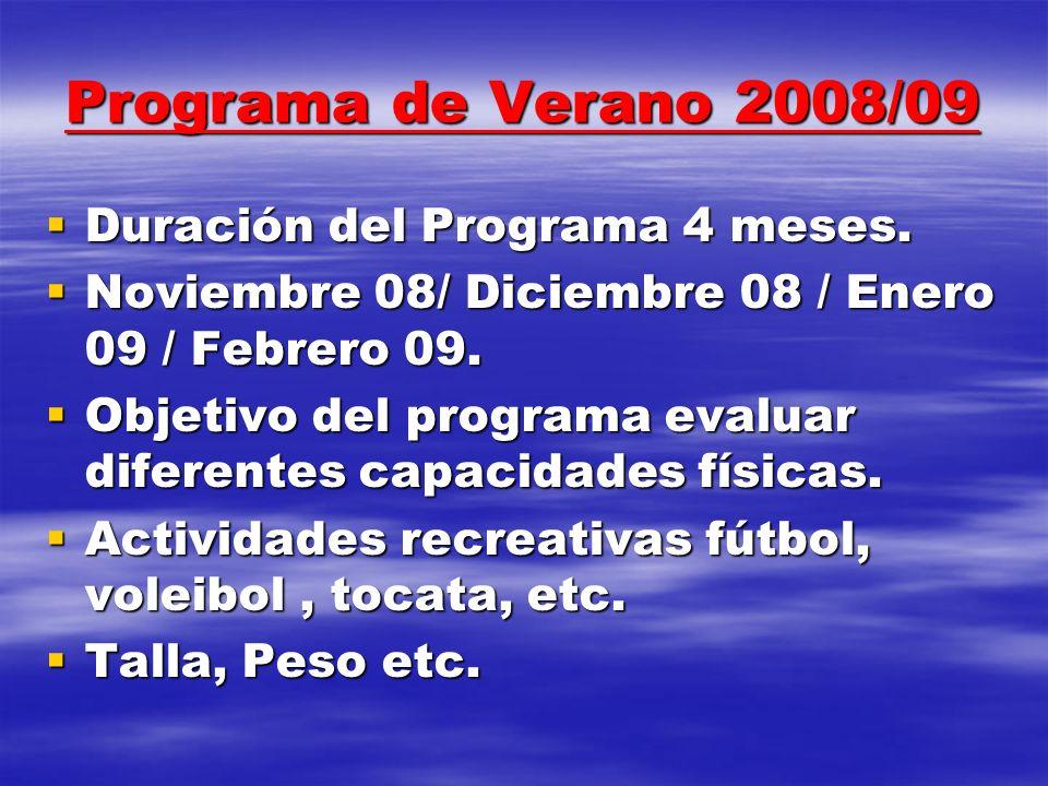 Programa de Verano 2008/09 Duración del Programa 4 meses.