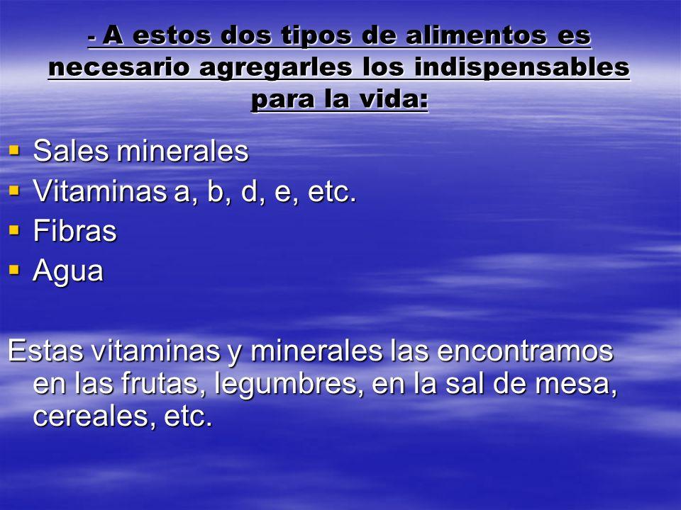 Sales minerales Vitaminas a, b, d, e, etc. Fibras Agua