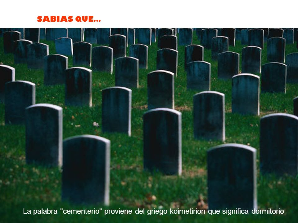 La palabra cementerio proviene del griego koimetirion que significa dormitorio