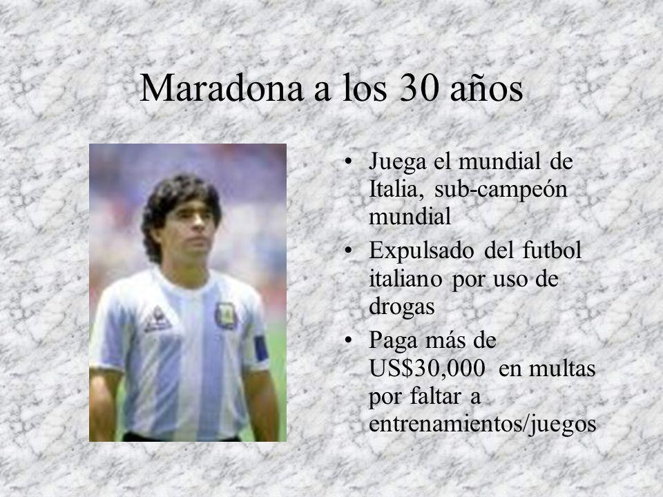 Maradona a los 30 años Juega el mundial de Italia, sub-campeón mundial
