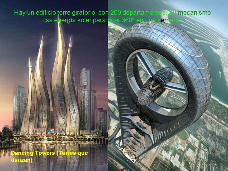 Hay un edificio torre giratorio, con 200 departamentos