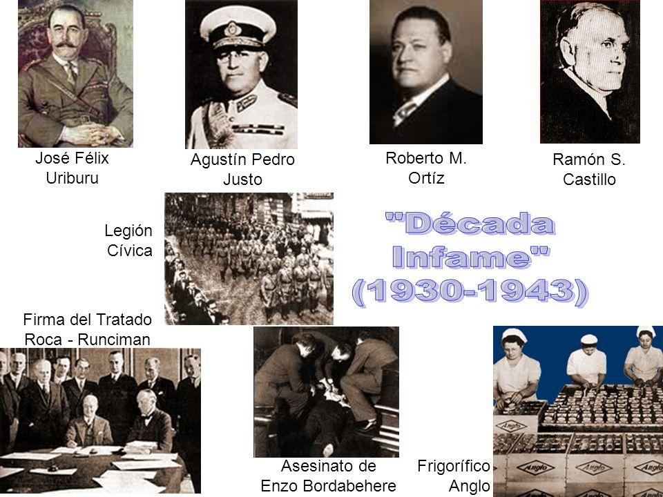 Década Infame (1930-1943) José Félix Uriburu Agustín Pedro Justo