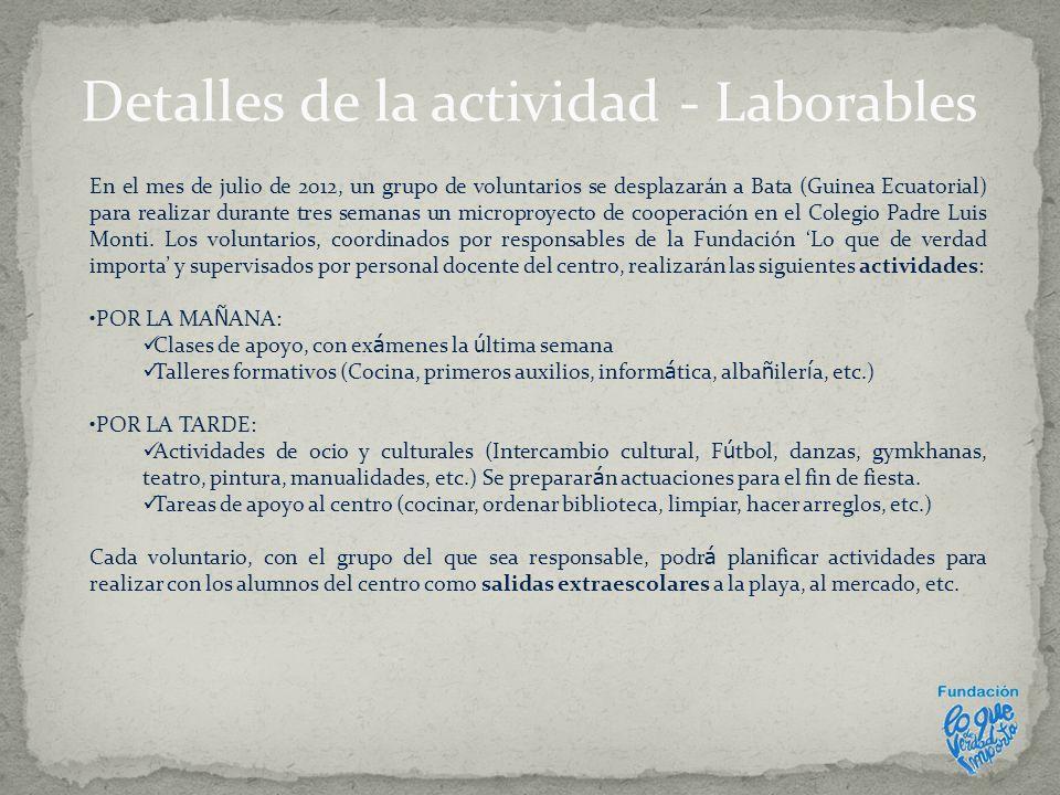Detalles de la actividad - Laborables