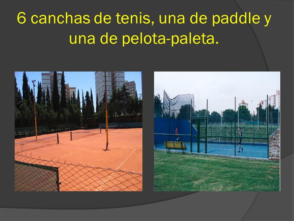 6 canchas de tenis, una de paddle y una de pelota-paleta.