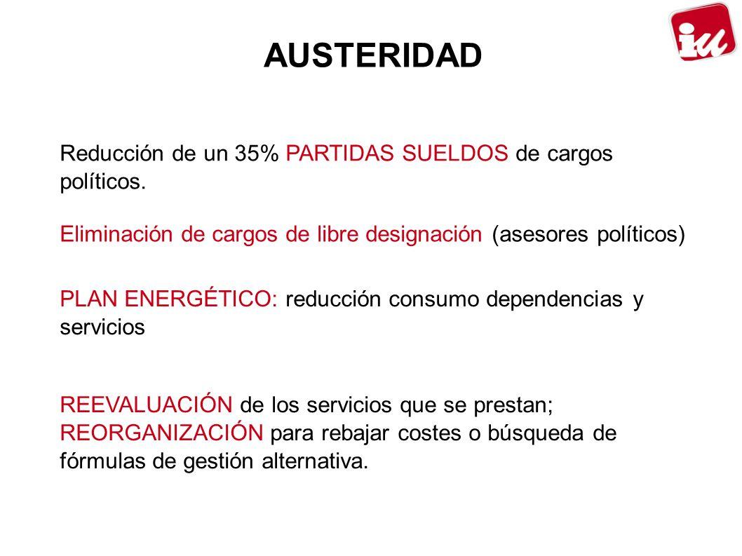 AUSTERIDAD Reducción de un 35% PARTIDAS SUELDOS de cargos políticos.
